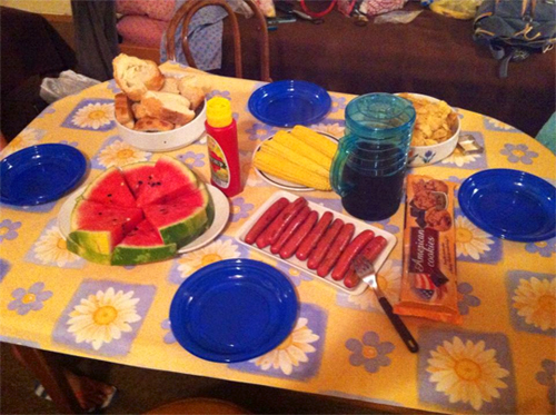 Obviously salubrious, all-American Fourth of July feast we prepared in a castle-hostel in Hvar, Croatia
