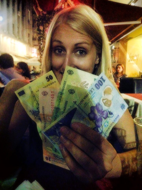 Rolling in the Romanian lei. Never mind the fact that one Romanian leu equals about 23 euro cents.