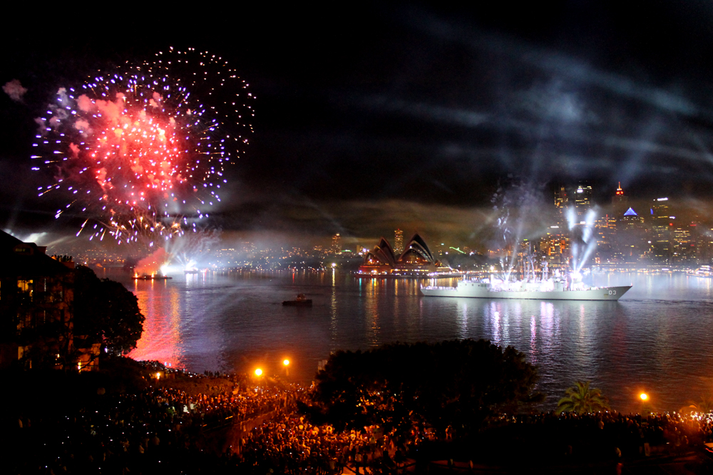 Sydney Harbour fireworks - Fleet Review