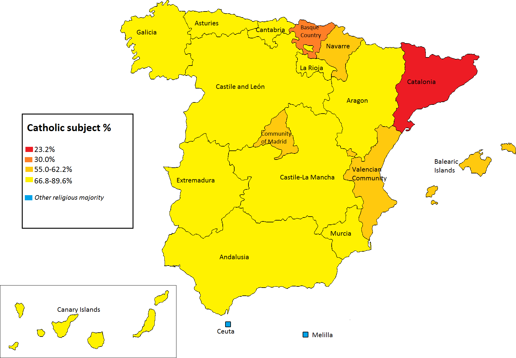 percentage of students in spain studying catholic religion in public elementary schools by autonomous community