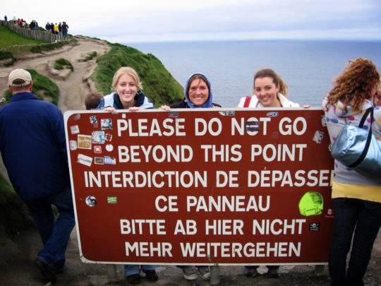 Ain't nothin' that can stop us! (At Ireland's Cliffs of Moher with two of my best high school friends in 2009)