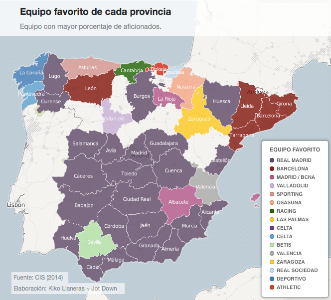 Spain's favorite soccer teams by province