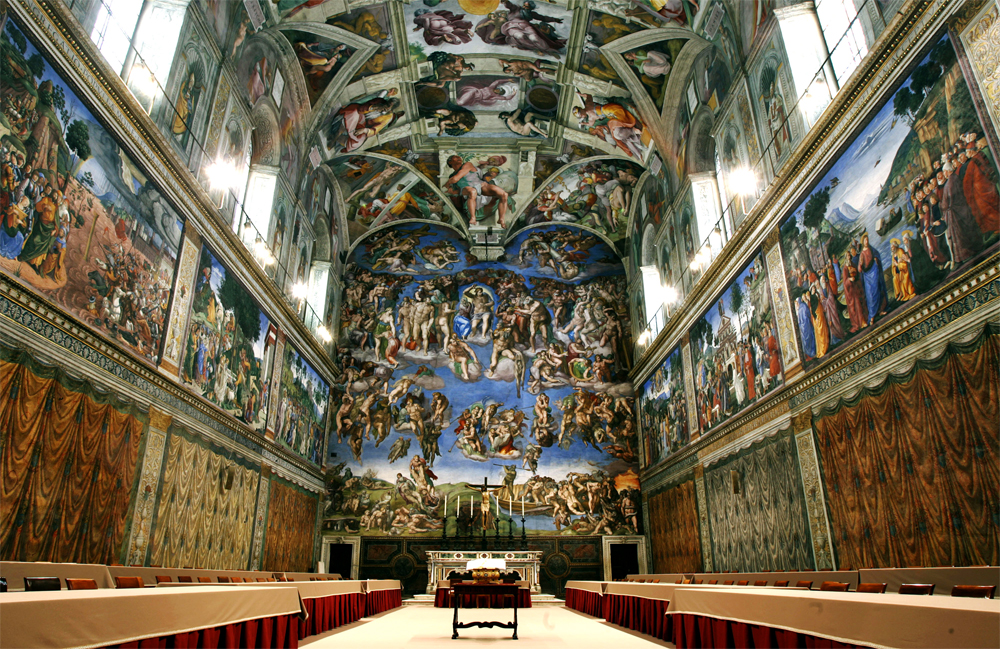 "The Sistine Chapel. I may be the only tourist in history to actually obey their ""no photos"" rule, so photo credit)"