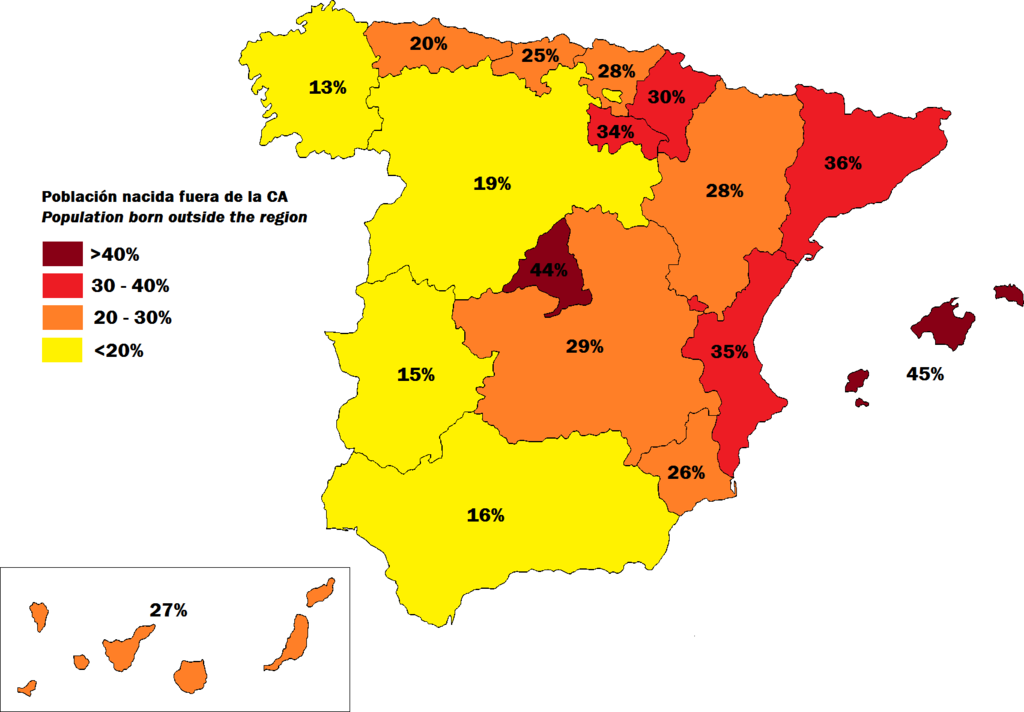 Spain: percentage of population born outside each autonomous community