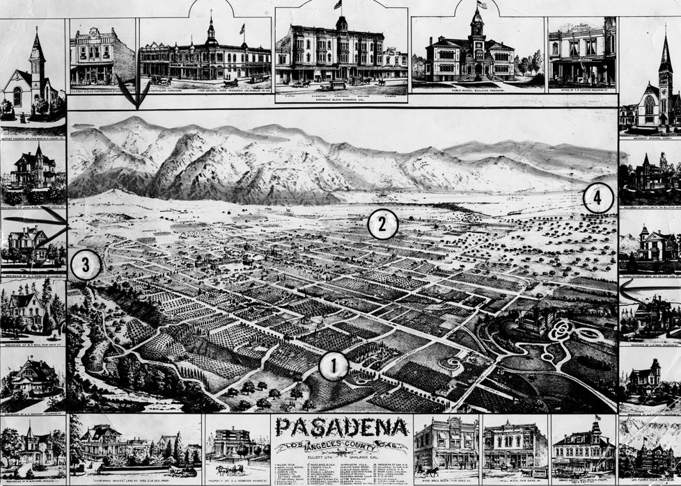 A map of Pasadena and some of its prominent buildings in 1886 (photo credit)