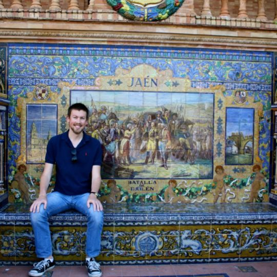 Visiting the Jaén bench in Sevilla's Plaza de España