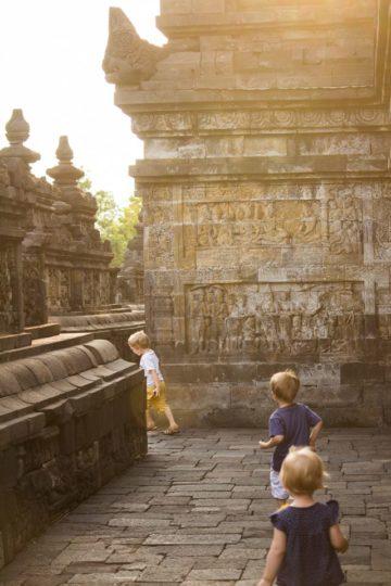 Luke's kids in Borobudur, Indonesia
