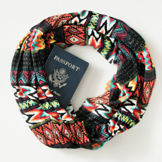 Scarf with hidden pocket, travel gift ideas