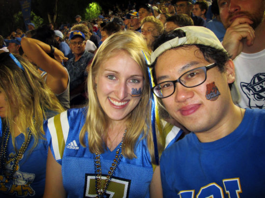 We sadly have no photos together at Disneyland, but here's one of Tim and I at the UCLA game while I was home!
