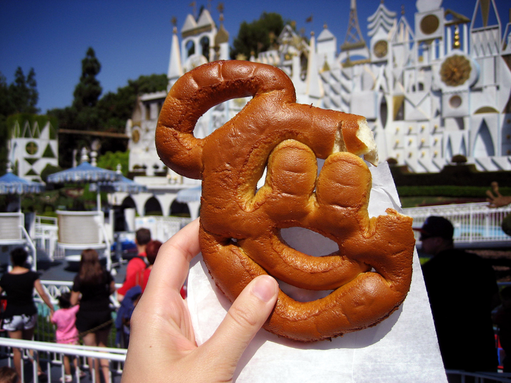A not so hidden Mickey, and one of my favorite Disneyland snacks, while in line for It's a Small World