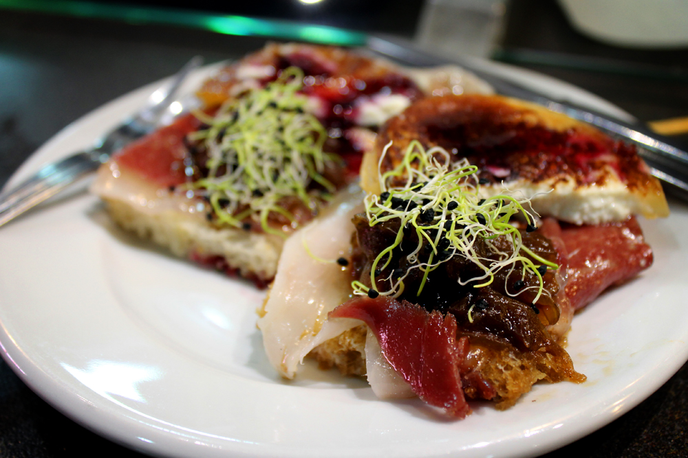 Pintxos with jamón serrano, goat cheese, and caramelized onion the following day