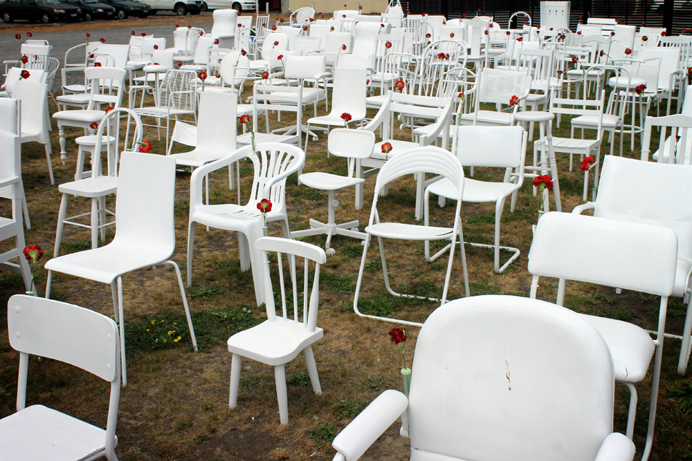 185 Empty White Chairs, Christchurch, New Zealand
