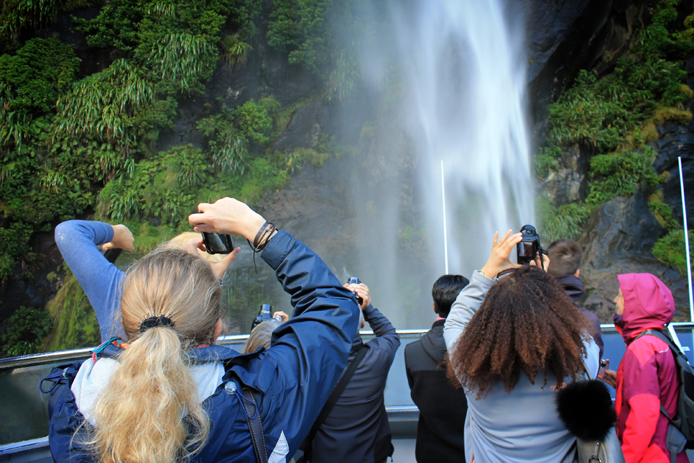 Waterfall, Milford Sound, New Zealand, Southern Discoveries