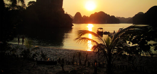 Castaways Island sunset, Halong Bay, Vietnam