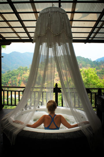A bit of rest and relaxation in my private jacuzzi at the mindblowingly beautiful Panviman Chiang Mai