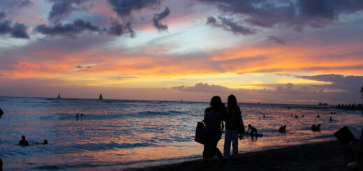 Waikiki Beach sunset, Oahu, Hawaii