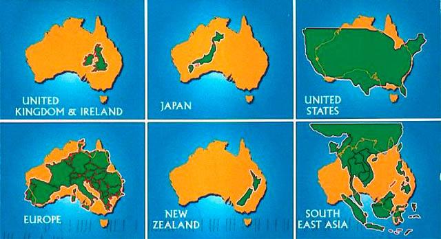 Australia's size map