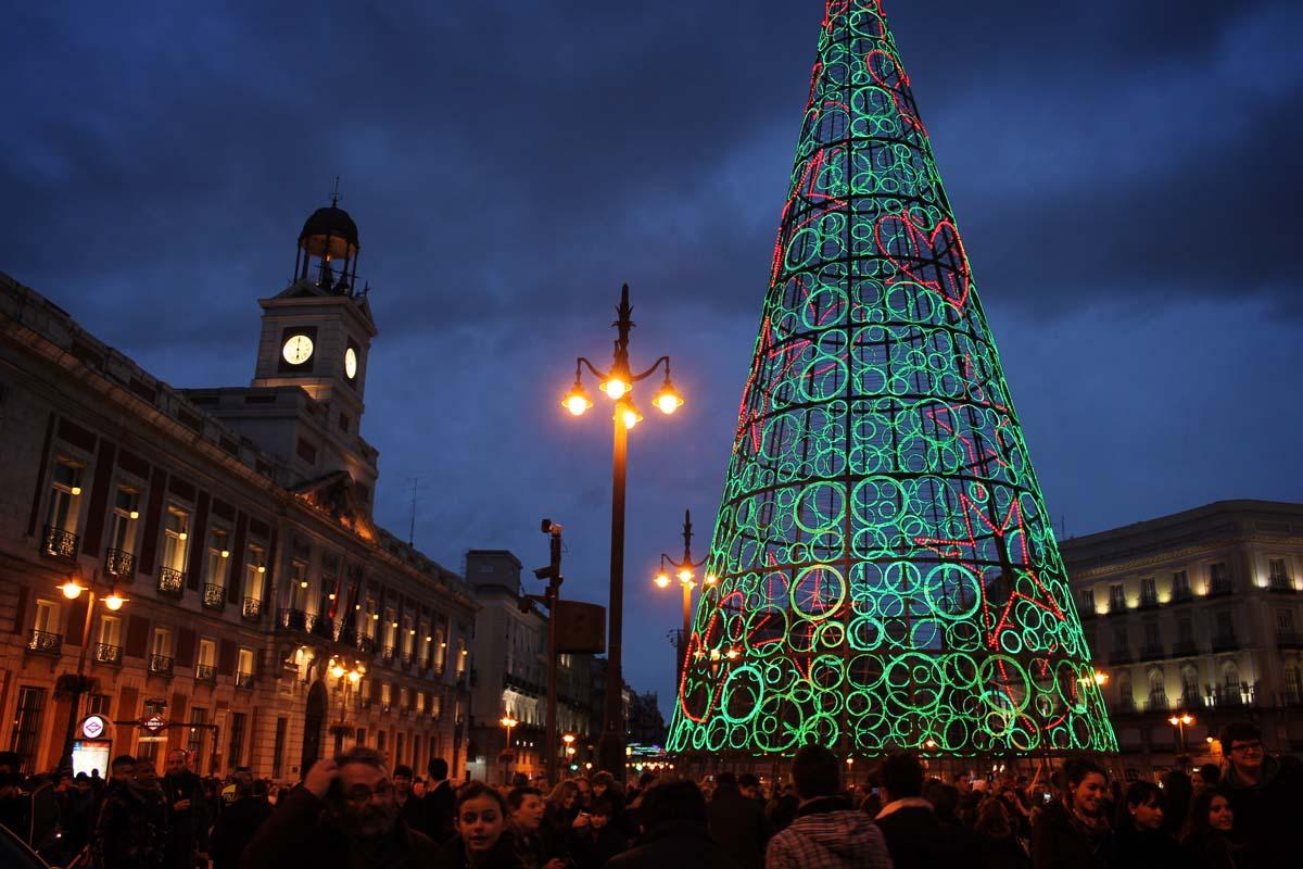 Christmas lights, Puerta del Sol, Madrid